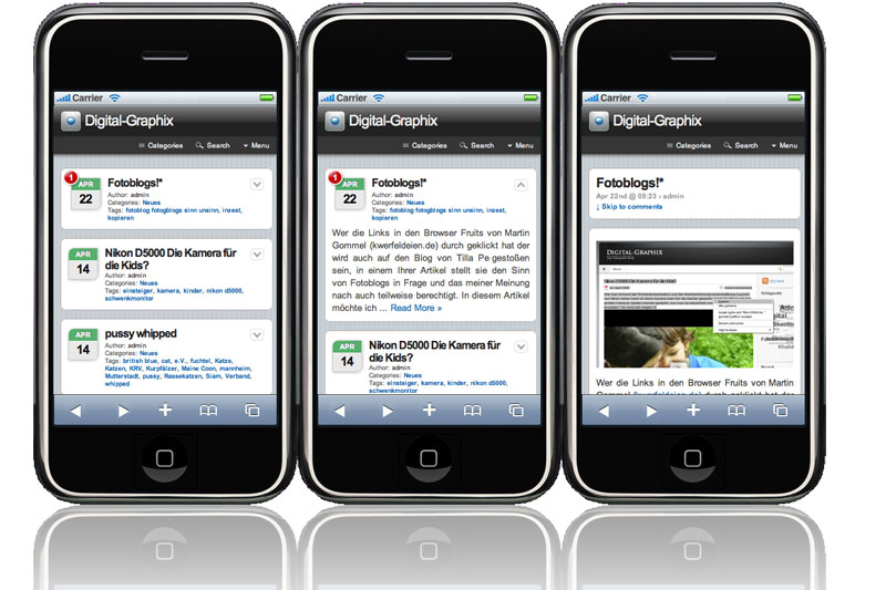 Wordpress plugin realisiert mit dem WPtouch iPhone Theme