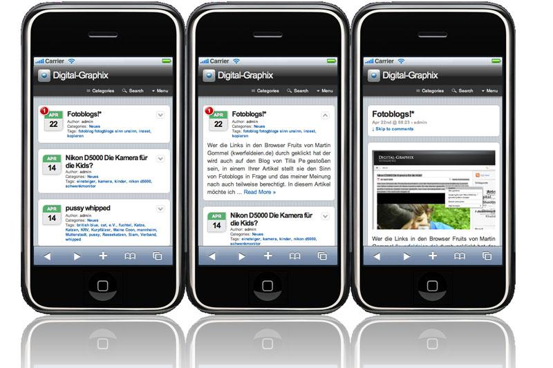 Wordpress plugin realisiert mit dem WPtouch iPhone Theme